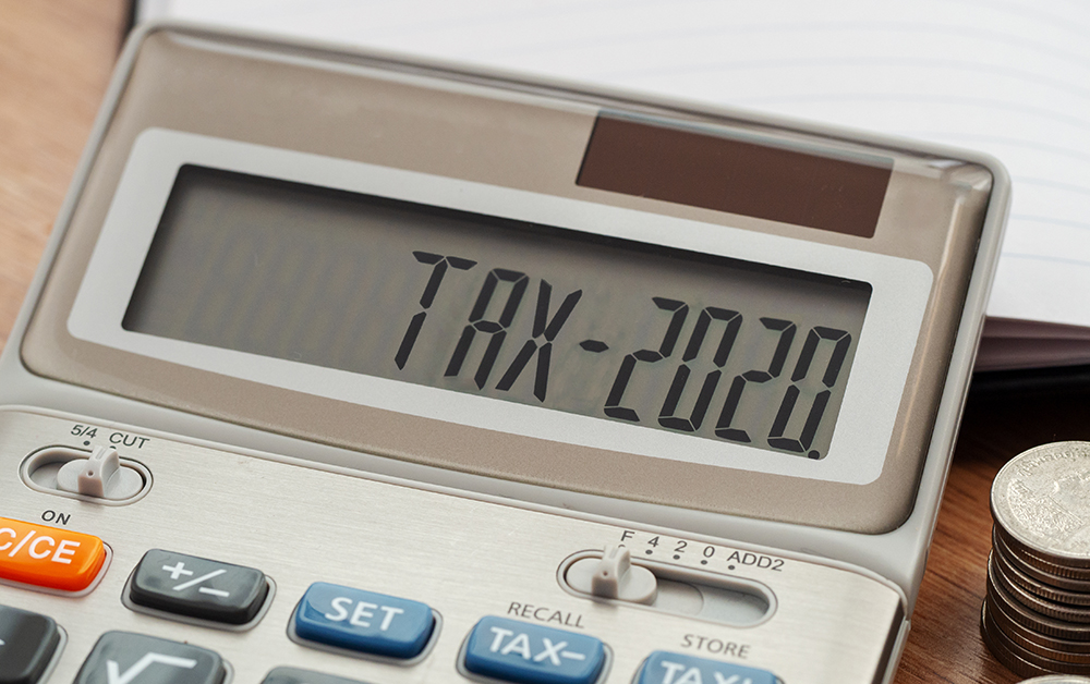 Tax 2020 written on a calculator